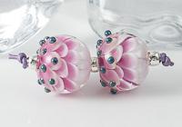 Pink Lampwork Dahlia Beads