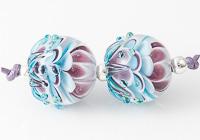 Turquoise / Purple Dahlia Lampwork Beads
