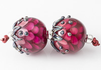 Dark Pink Dahlia Lampwork Beads