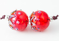 Dark Orange Dahlia Lampwork Beads