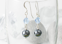Haematite and Crystal Earrings