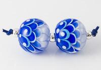 Blue Lampwork Dahlia Beads