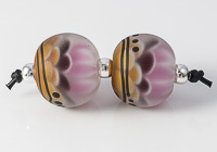 Amber Dahlia Lampwork Beads