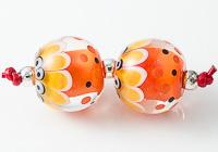 Spotty Dahlia Lampwork Beads