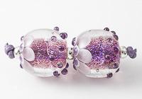 Pink Dichroic Lampwork Beads