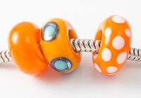 Orange Lampwork Charm Beads