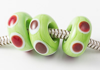 Red Dotty Lampwork Charm Beads