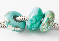 Teal Lampwork Charm Beads