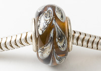 Brown Leaf Silver Cored Lampwork Bead