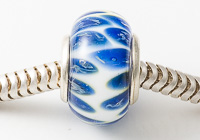 Blue and White Cored Lampwork Bead