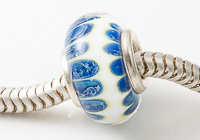 Blue and White Cored Lampwork Bead alternative view 1