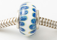 Blue and White Cored Lampwork Bead alternative view 2