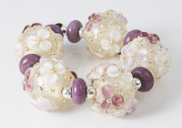 Purple Flowery Lampwork Beads