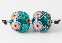 Peacock Lampwork Bead Pair