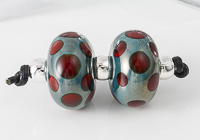 Turquoise Spotty Lampwork Bead Set