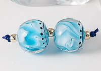 Blue Lampwork Bead Pair