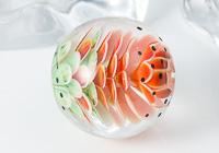 Watermelon Lampwork Dalhia Bead