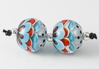 Turquoise Dahlia Lampwork Beads