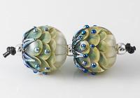 Silver Glass Dahlia Lampwork Beads