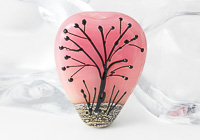 Pink Sunset Lampwork Tree Bead