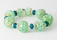 Golden Green Lampwork Beads