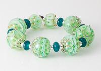 Golden Green Lampwork Beads