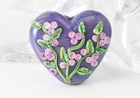 Purple Flower Lampwork Heart Bead