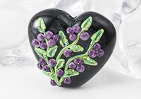 Black Flower Lampwork Heart Bead