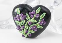 Black Flower Lampwork Heart Bead