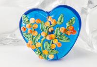 Turquoise Flower Lampwork Heart Bead
