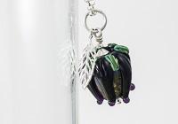 Purple Rose and Leaf Pendant