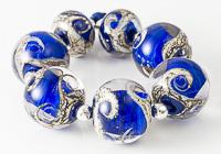Blue Swirly Lampwork Beads