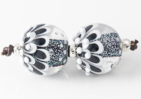 Silver Dahlia Lampwork Beads