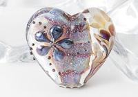 Purple Dahlia Lampwork Heart Bead