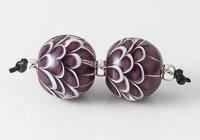 Purple Dahlia Lampwork Beads
