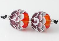 Orange Glitter Dahlia Lampwork Beads