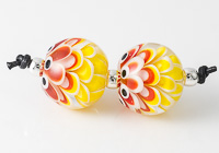 Yellow Dahlia Lampwork Beads