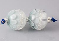 Blue Glitter Dahlia Lampwork Beads