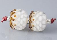 White Dahlia Lampwork Beads