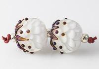 Leafy Dahlia Lampwork Beads