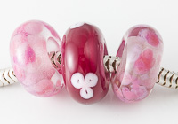 Pink Lampwork Charm Beads