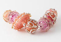 Pink and Gold Lampwork Beads