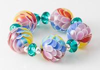 Rainbow Dahlia Lampwork Beads