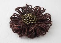 Brown Flower Brooch