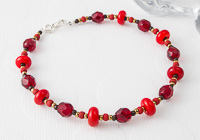 Orange and Red Lampwork Bracelet
