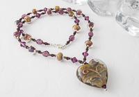 Golden Heart Lampwork Necklace