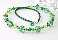 """""""Green as Grass"""" Lampwork Necklace"""