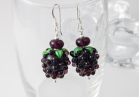 Blackberry Lampwork Earrings