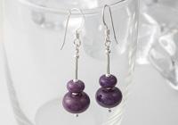 Purple Lampwork Bead Earrings