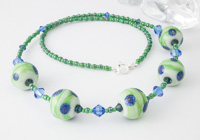 """Green Fields"" Lampwork Necklace"